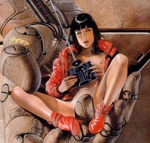 Hector-Gomez-ilustração-acrílico-papel-aerográfico-Hustler-Comics-capa-graphic-novel-Girl-robot-1993