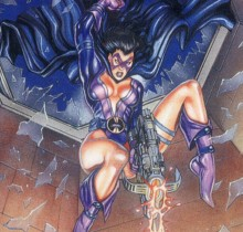 Hector-Gomez-ilustração-acrílico-papel-aerográfico-Skybox-tradding-Card-Huntress-1995
