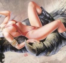 Hector-Gomez-ilustração-acrílico-papel-aerográfico-Skybox-tradding-Card-Vampirella-1995