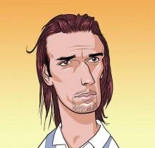 Hector-Gomez-ilustração-sketchbook-photoshop-Yahoo-site-figurões-da-copa-Batistuta-2009